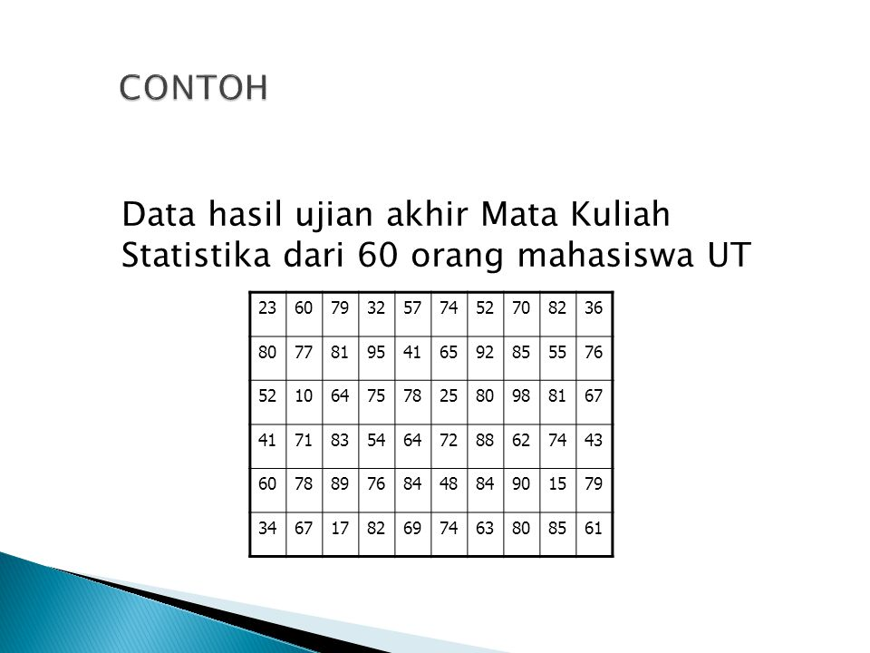 CONTOH Data hasil ujian akhir Mata Kuliah Statistika dari 60 orang mahasiswa UT. 23. 60. 79. 32.