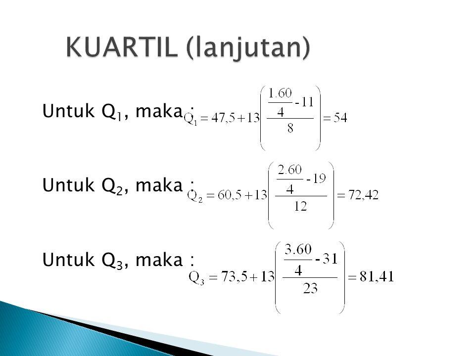 KUARTIL (lanjutan) Untuk Q1, maka : Untuk Q2, maka : Untuk Q3, maka :
