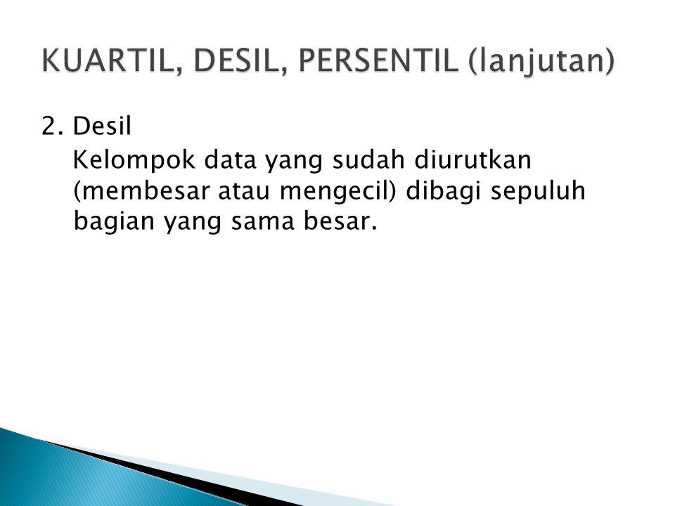 KUARTIL, DESIL, PERSENTIL (lanjutan)