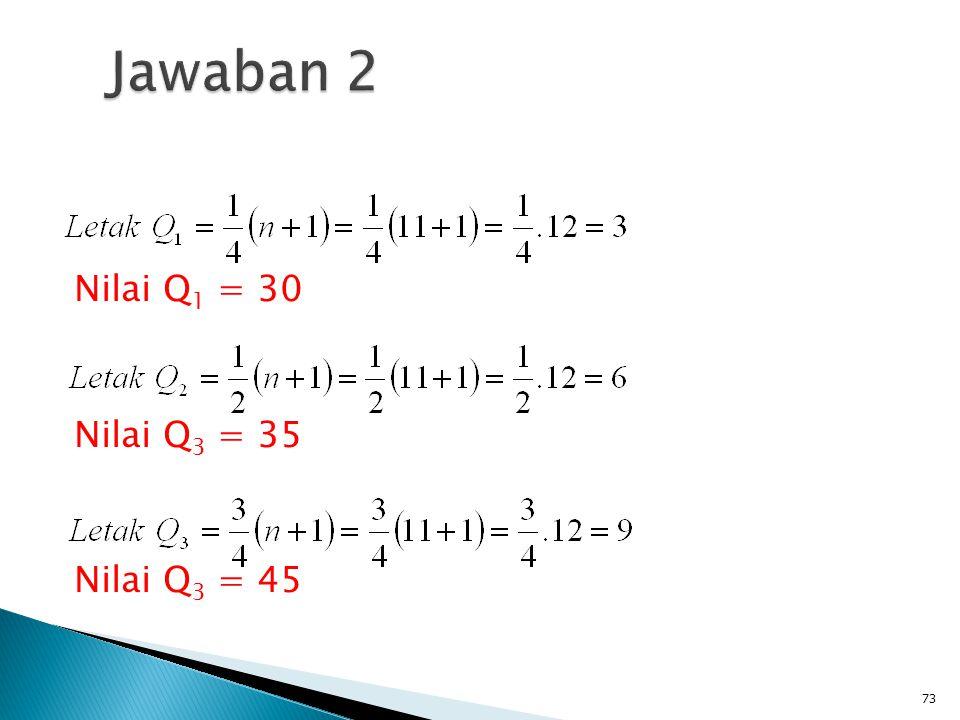 Jawaban 2 Nilai Q1 = 30 Nilai Q3 = 35 Nilai Q3 = 45