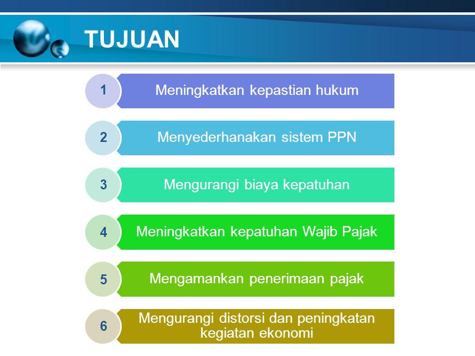 TUJUAN Meningkatkan kepastian hukum Menyederhanakan sistem PPN