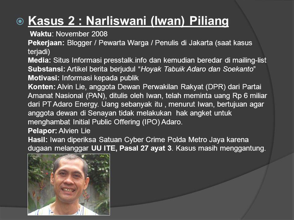 Kasus 2 : Narliswani (Iwan) Piliang