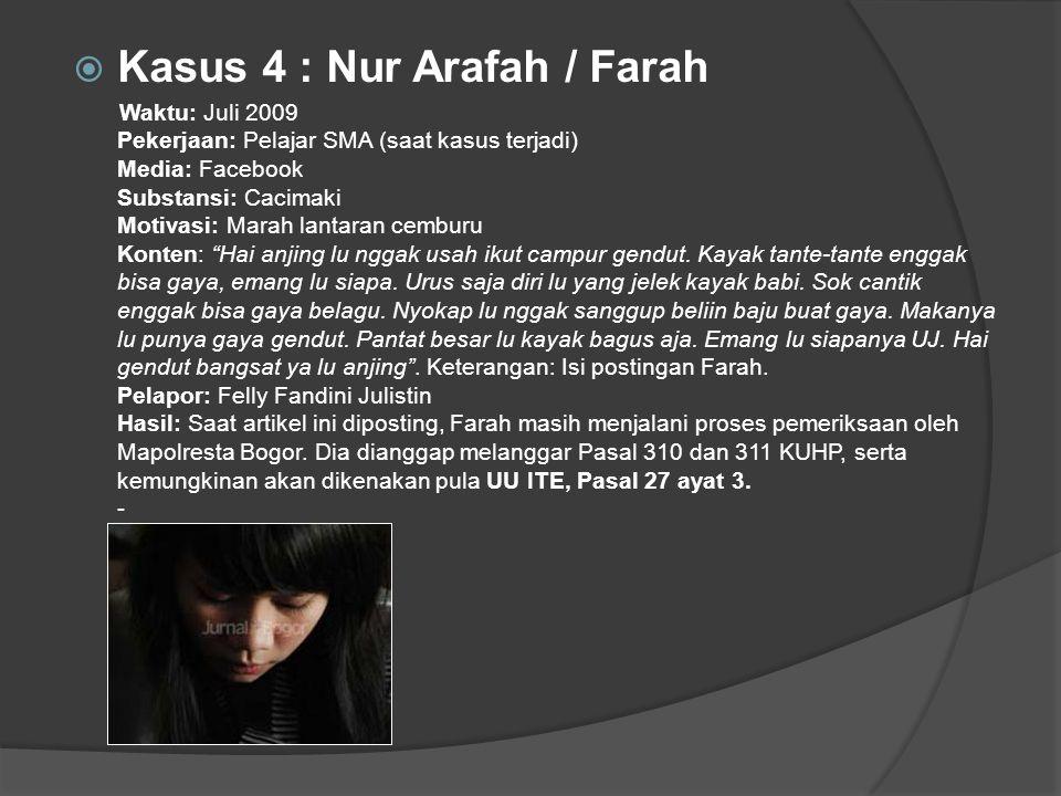 Kasus 4 : Nur Arafah / Farah