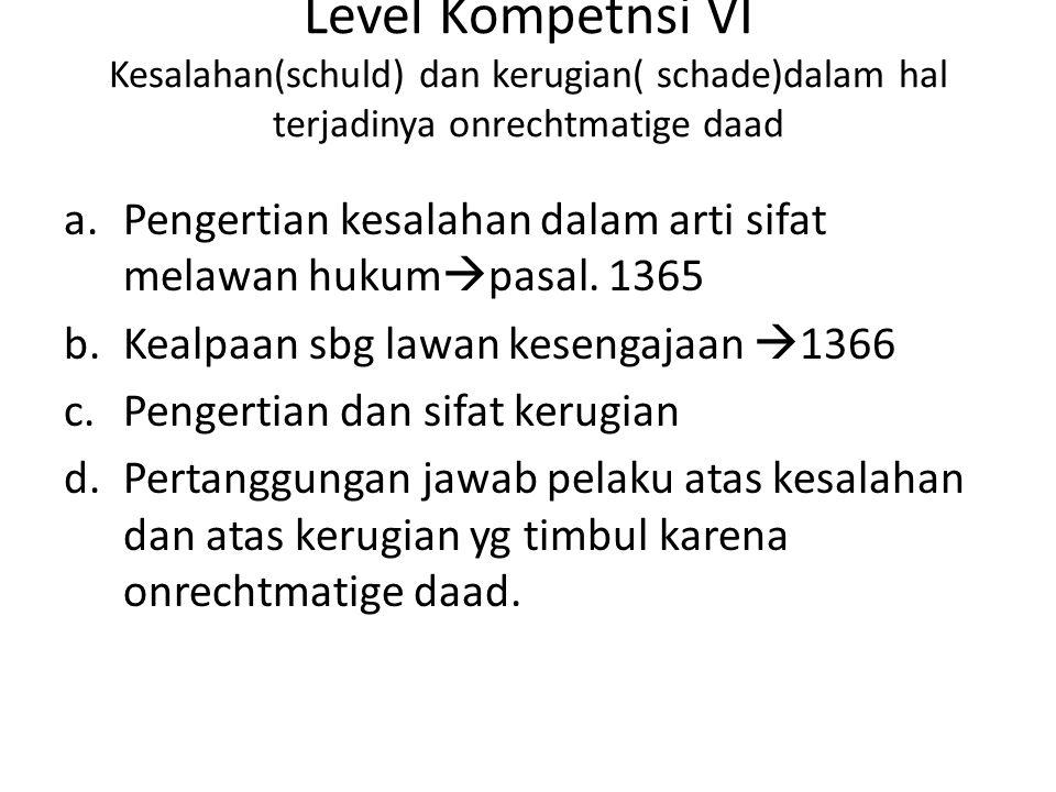 Level Kompetnsi VI Kesalahan(schuld) dan kerugian( schade)dalam hal terjadinya onrechtmatige daad