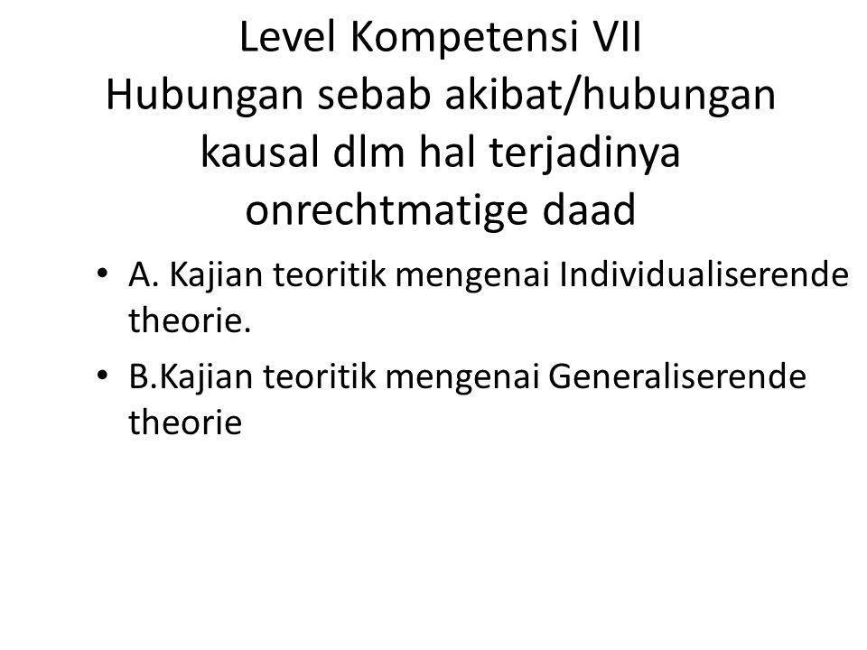 Level Kompetensi VII Hubungan sebab akibat/hubungan kausal dlm hal terjadinya onrechtmatige daad
