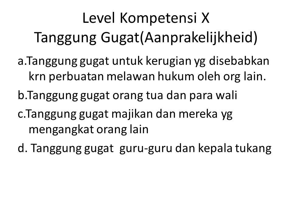 Level Kompetensi X Tanggung Gugat(Aanprakelijkheid)