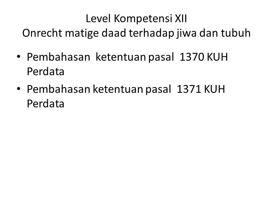 Level Kompetensi XII Onrecht matige daad terhadap jiwa dan tubuh