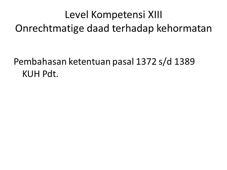 Level Kompetensi XIII Onrechtmatige daad terhadap kehormatan