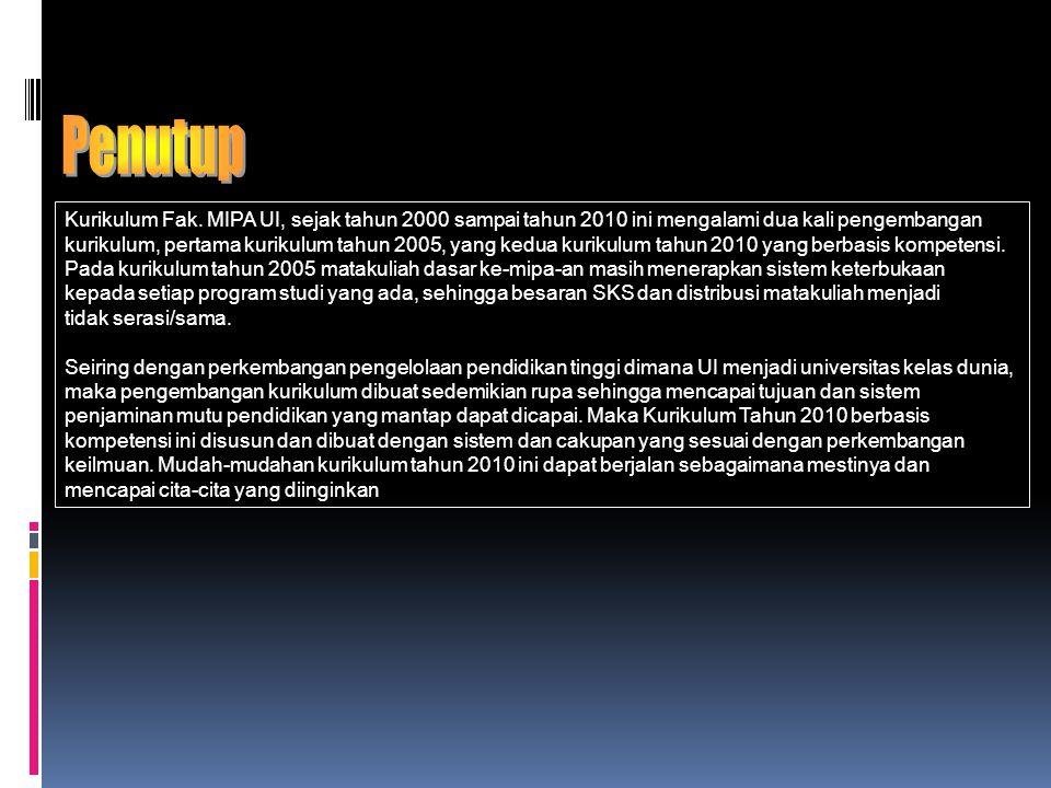 Penutup Kurikulum Fak. MIPA UI, sejak tahun 2000 sampai tahun 2010 ini mengalami dua kali pengembangan.