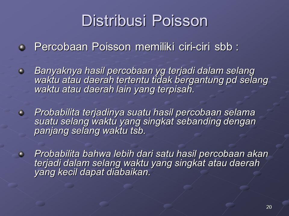 Distribusi Poisson Percobaan Poisson memiliki ciri-ciri sbb :