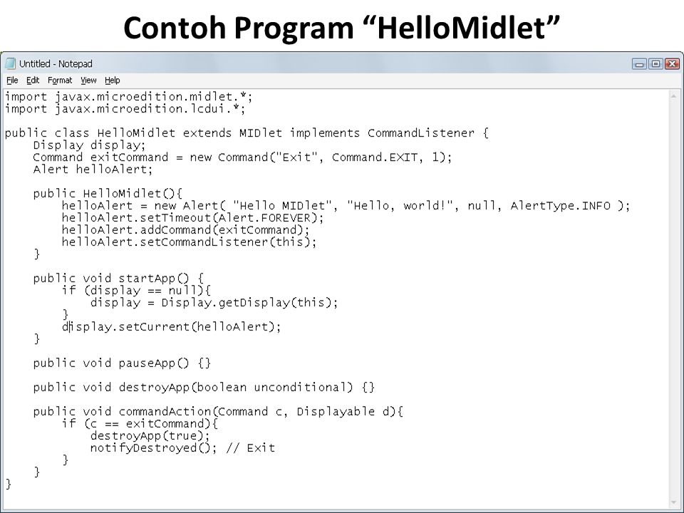 Contoh Program HelloMidlet