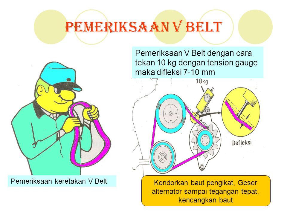Pemeriksaan V Belt Pemeriksaan V Belt dengan cara tekan 10 kg dengan tension gauge maka difleksi 7-10 mm.