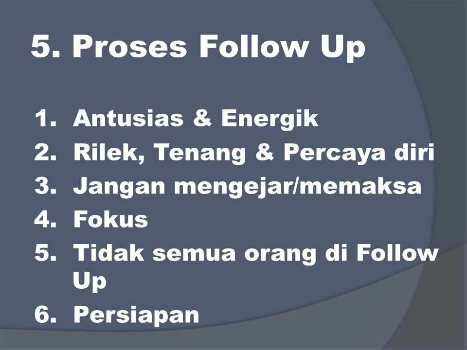 5. Proses Follow Up 1. Antusias & Energik