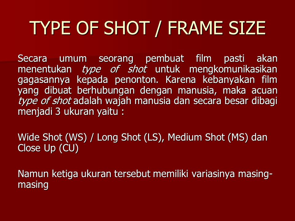 TYPE OF SHOT / FRAME SIZE