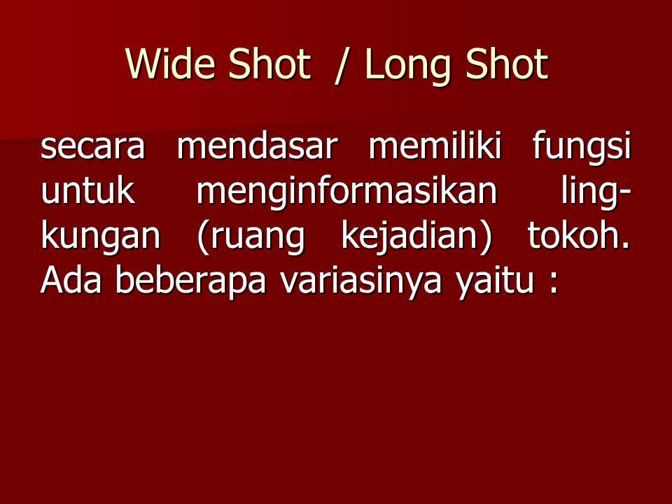 Wide Shot / Long Shot secara mendasar memiliki fungsi untuk menginformasikan ling-kungan (ruang kejadian) tokoh.