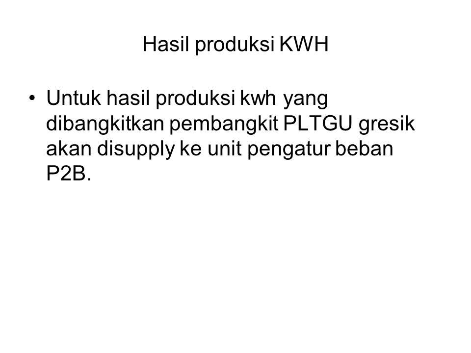 Hasil produksi KWH Untuk hasil produksi kwh yang dibangkitkan pembangkit PLTGU gresik akan disupply ke unit pengatur beban P2B.