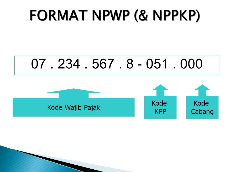 FORMAT NPWP (& NPPKP) 07 . 234 . 567 . 8 - 051 . 000 Kode KPP Kode