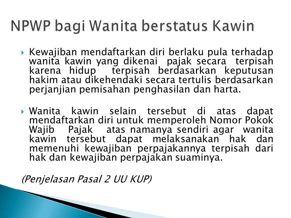 NPWP bagi Wanita berstatus Kawin