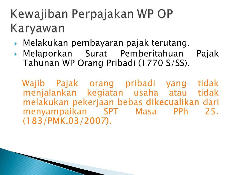 Kewajiban Perpajakan WP OP Karyawan