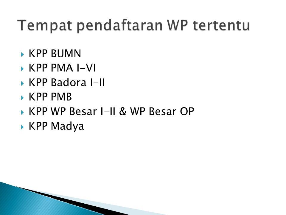 Tempat pendaftaran WP tertentu