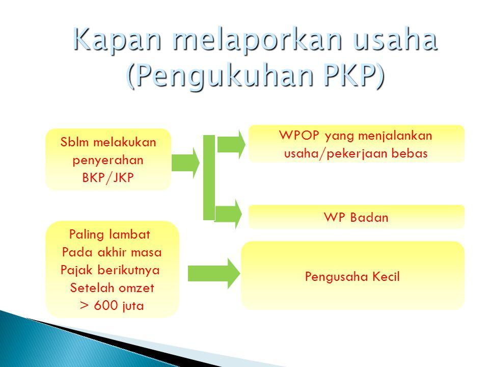 Kapan melaporkan usaha (Pengukuhan PKP)
