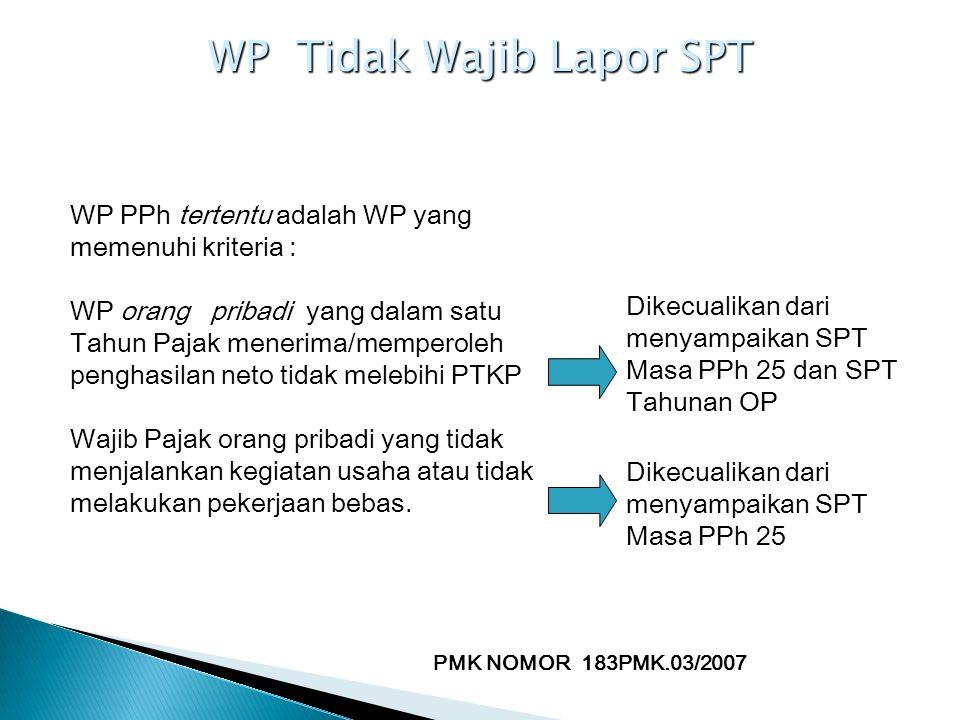 WP Tidak Wajib Lapor SPT