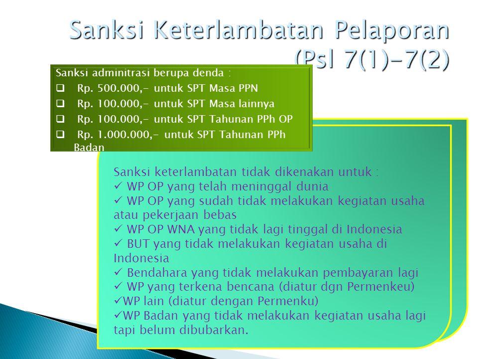 Sanksi Keterlambatan Pelaporan (Psl 7(1)-7(2)