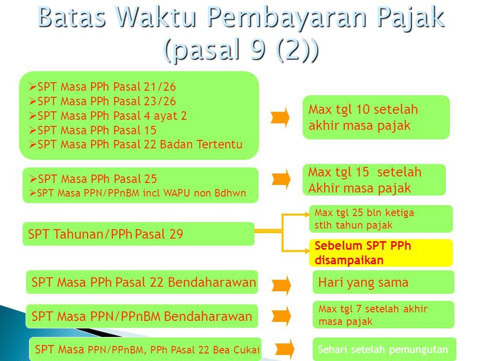 Batas Waktu Pembayaran Pajak (pasal 9 (2))