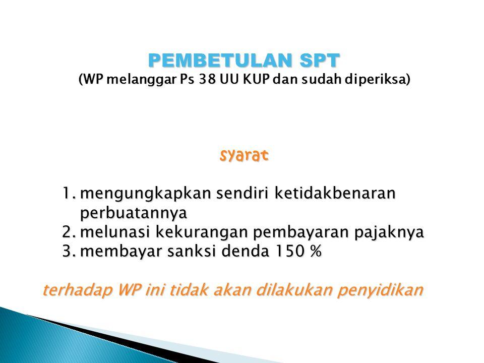 (WP melanggar Ps 38 UU KUP dan sudah diperiksa)