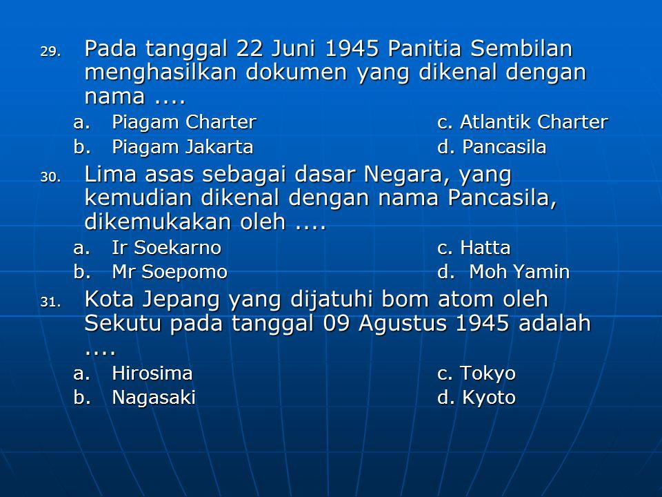 Pada tanggal 22 Juni 1945 Panitia Sembilan menghasilkan dokumen yang dikenal dengan nama ....