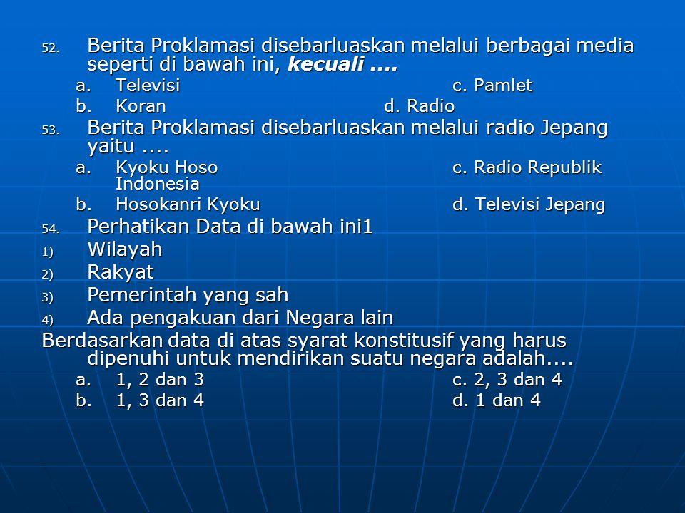 Berita Proklamasi disebarluaskan melalui radio Jepang yaitu ....