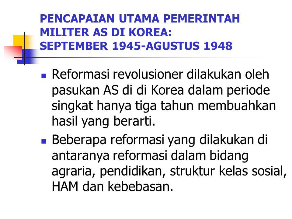 PENCAPAIAN UTAMA PEMERINTAH MILITER AS DI KOREA: SEPTEMBER 1945-AGUSTUS 1948