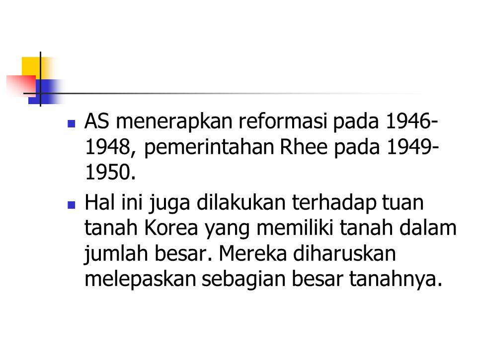 AS menerapkan reformasi pada 1946-1948, pemerintahan Rhee pada 1949-1950.