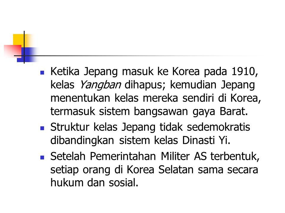 Ketika Jepang masuk ke Korea pada 1910, kelas Yangban dihapus; kemudian Jepang menentukan kelas mereka sendiri di Korea, termasuk sistem bangsawan gaya Barat.
