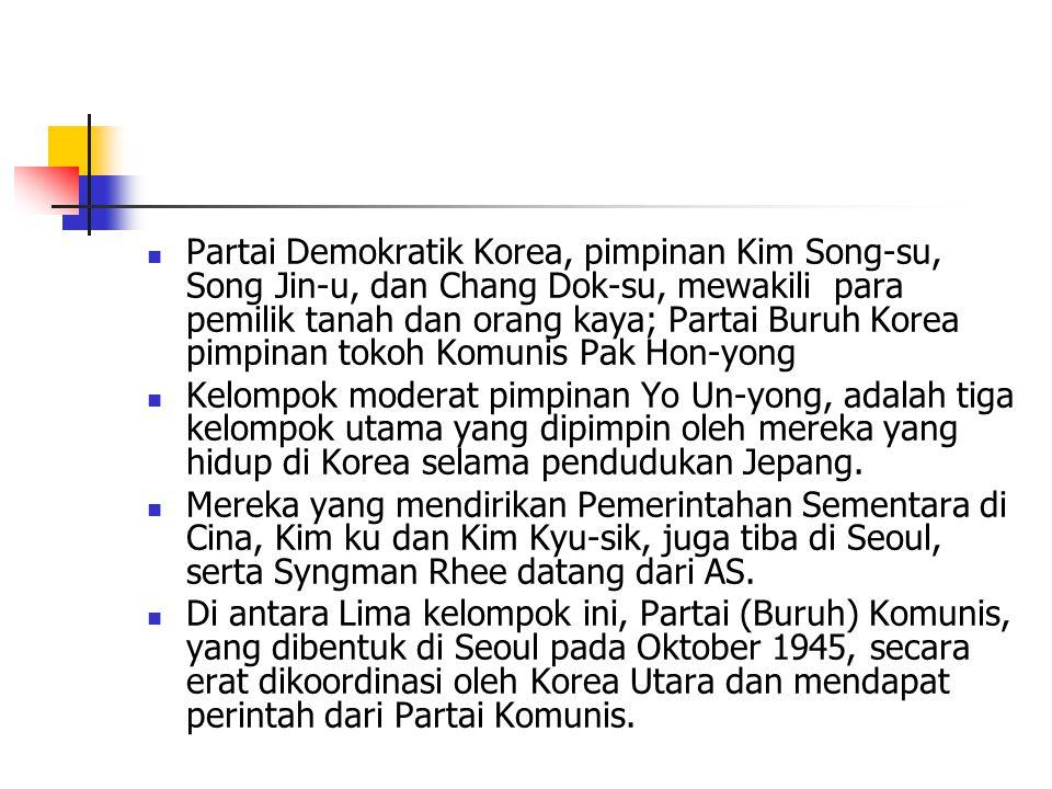Partai Demokratik Korea, pimpinan Kim Song-su, Song Jin-u, dan Chang Dok-su, mewakili para pemilik tanah dan orang kaya; Partai Buruh Korea pimpinan tokoh Komunis Pak Hon-yong