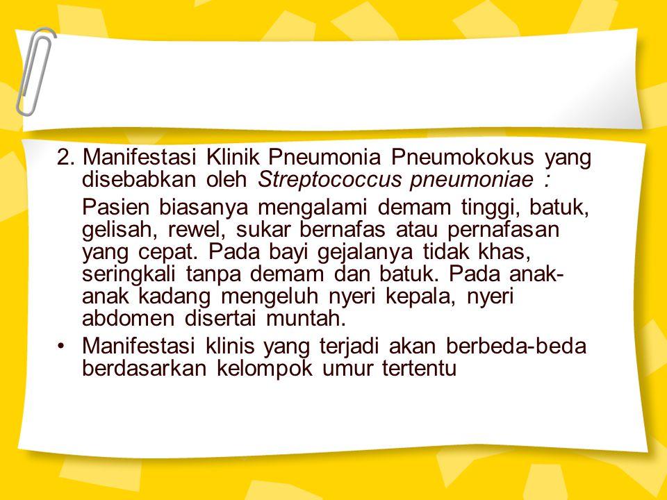 2. Manifestasi Klinik Pneumonia Pneumokokus yang disebabkan oleh Streptococcus pneumoniae :