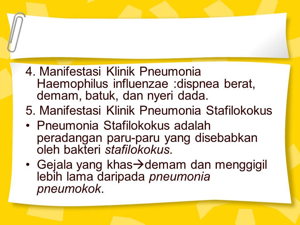 4. Manifestasi Klinik Pneumonia Haemophilus influenzae :dispnea berat, demam, batuk, dan nyeri dada.