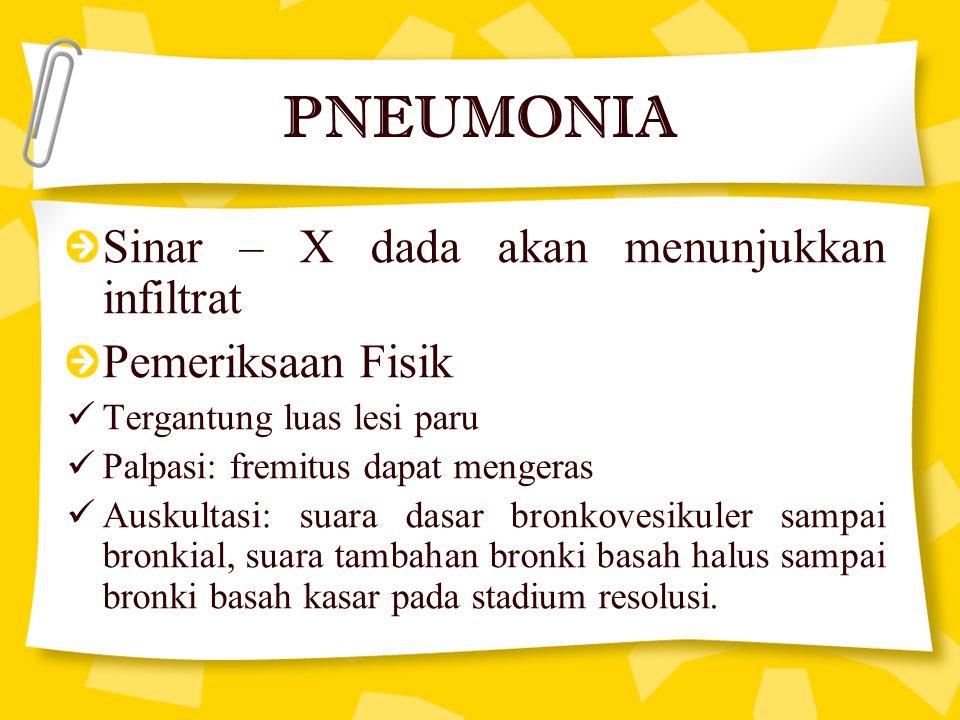 PNEUMONIA Sinar – X dada akan menunjukkan infiltrat Pemeriksaan Fisik