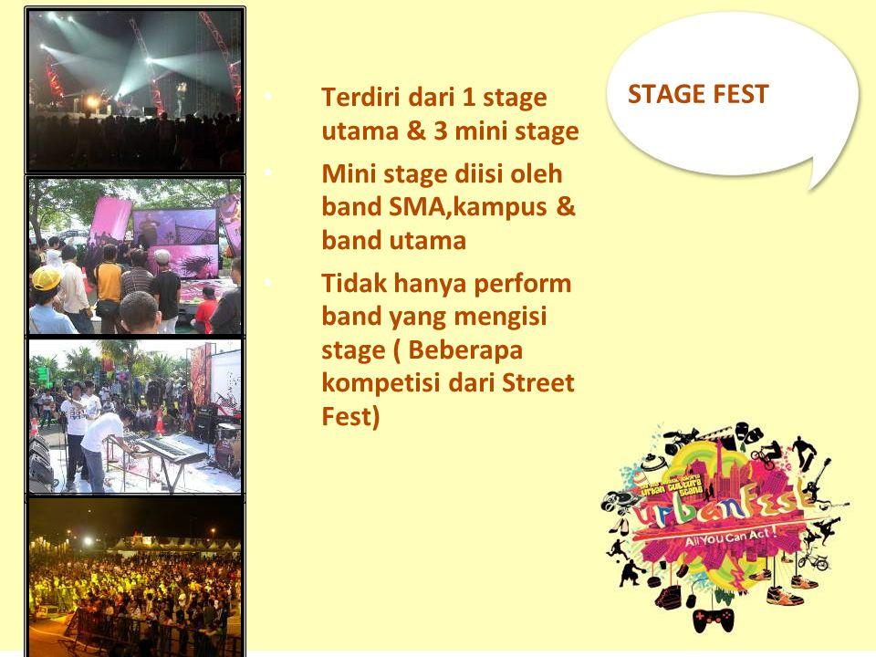 STAGE FEST Terdiri dari 1 stage utama & 3 mini stage. Mini stage diisi oleh band SMA,kampus & band utama.