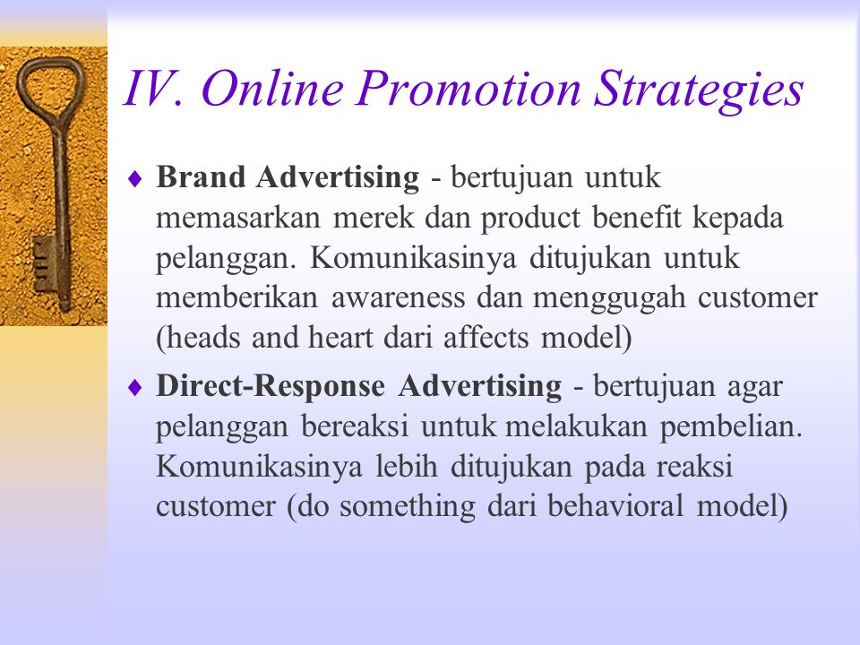 IV. Online Promotion Strategies