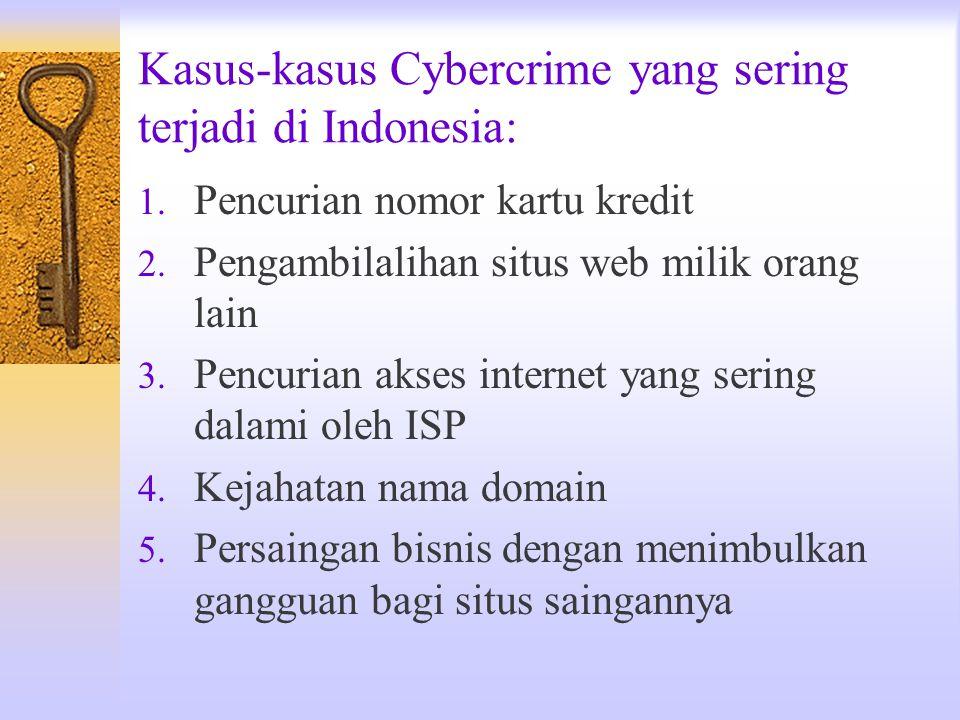 Kasus-kasus Cybercrime yang sering terjadi di Indonesia: