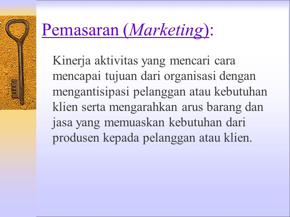 Pemasaran (Marketing):
