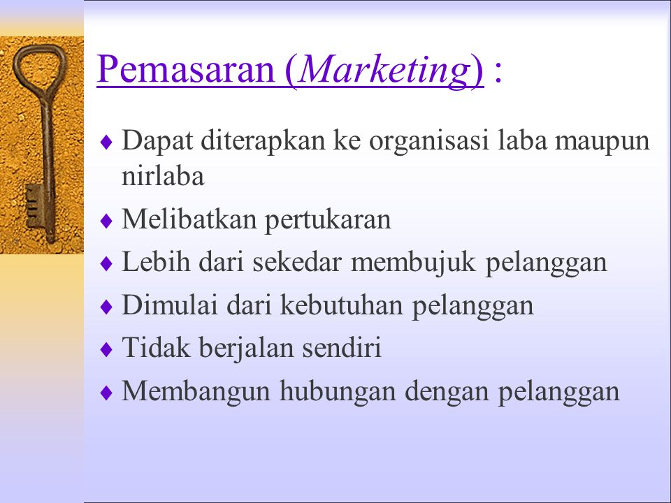 Pemasaran (Marketing) :