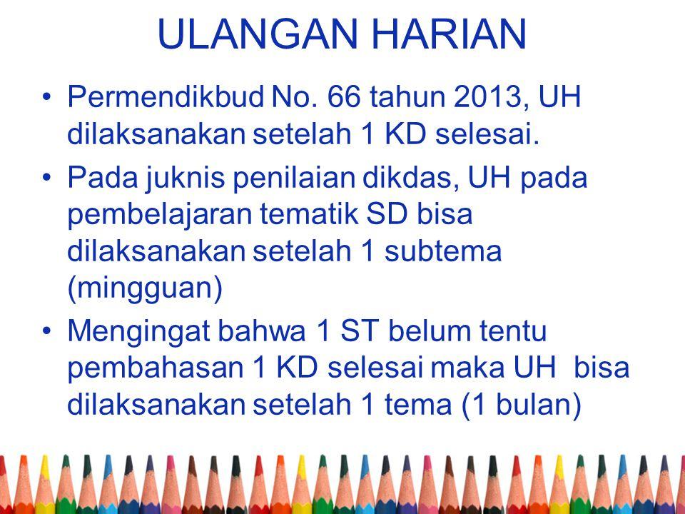 ULANGAN HARIAN Permendikbud No. 66 tahun 2013, UH dilaksanakan setelah 1 KD selesai.