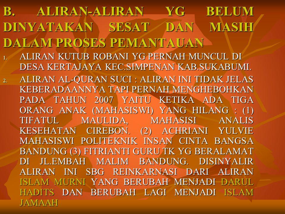 B. ALIRAN-ALIRAN YG BELUM DINYATAKAN SESAT DAN MASIH DALAM PROSES PEMANTAUAN