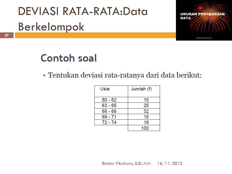 DEVIASI RATA-RATA:Data Berkelompok