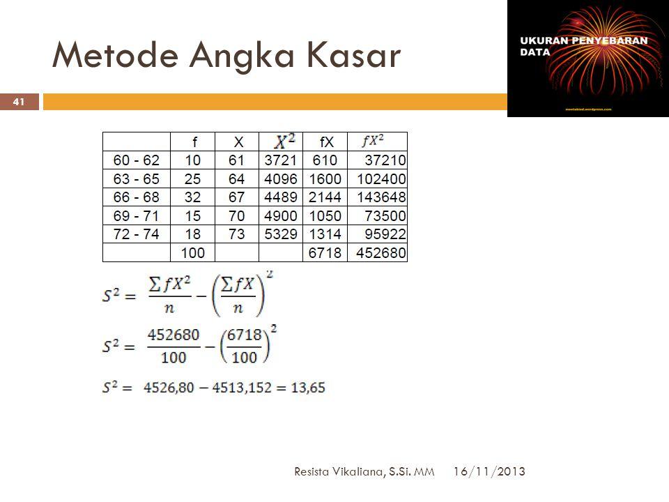 Metode Angka Kasar Resista Vikaliana, S.Si. MM 16/11/2013