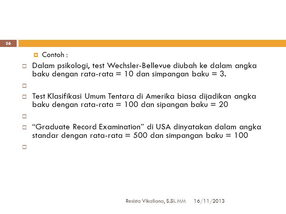 Contoh : Dalam psikologi, test Wechsler-Bellevue diubah ke dalam angka baku dengan rata-rata = 10 dan simpangan baku = 3.