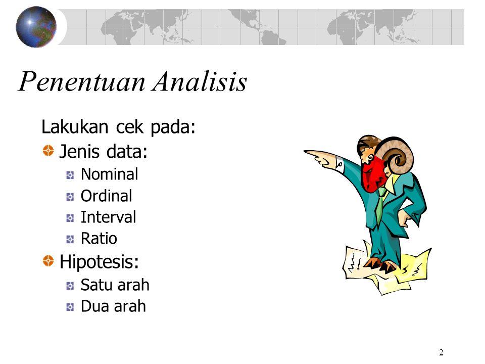 Penentuan Analisis Lakukan cek pada: Jenis data: Hipotesis: Nominal