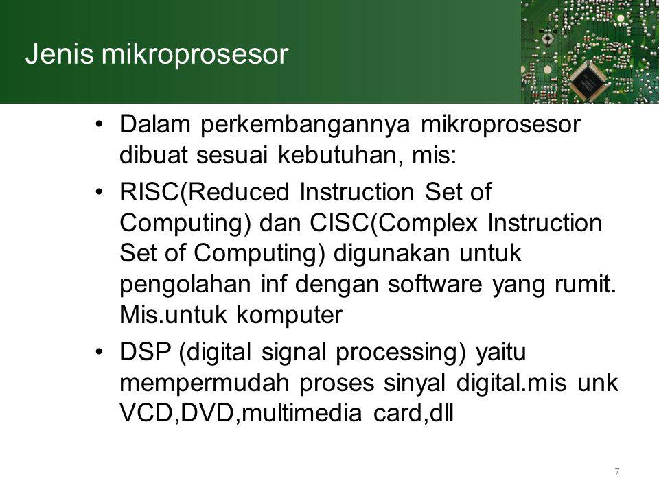 Jenis mikroprosesor Dalam perkembangannya mikroprosesor dibuat sesuai kebutuhan, mis: